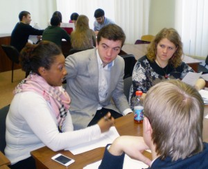 2L Angela May participates in negotiation exercises with law students at Belarusian State University.